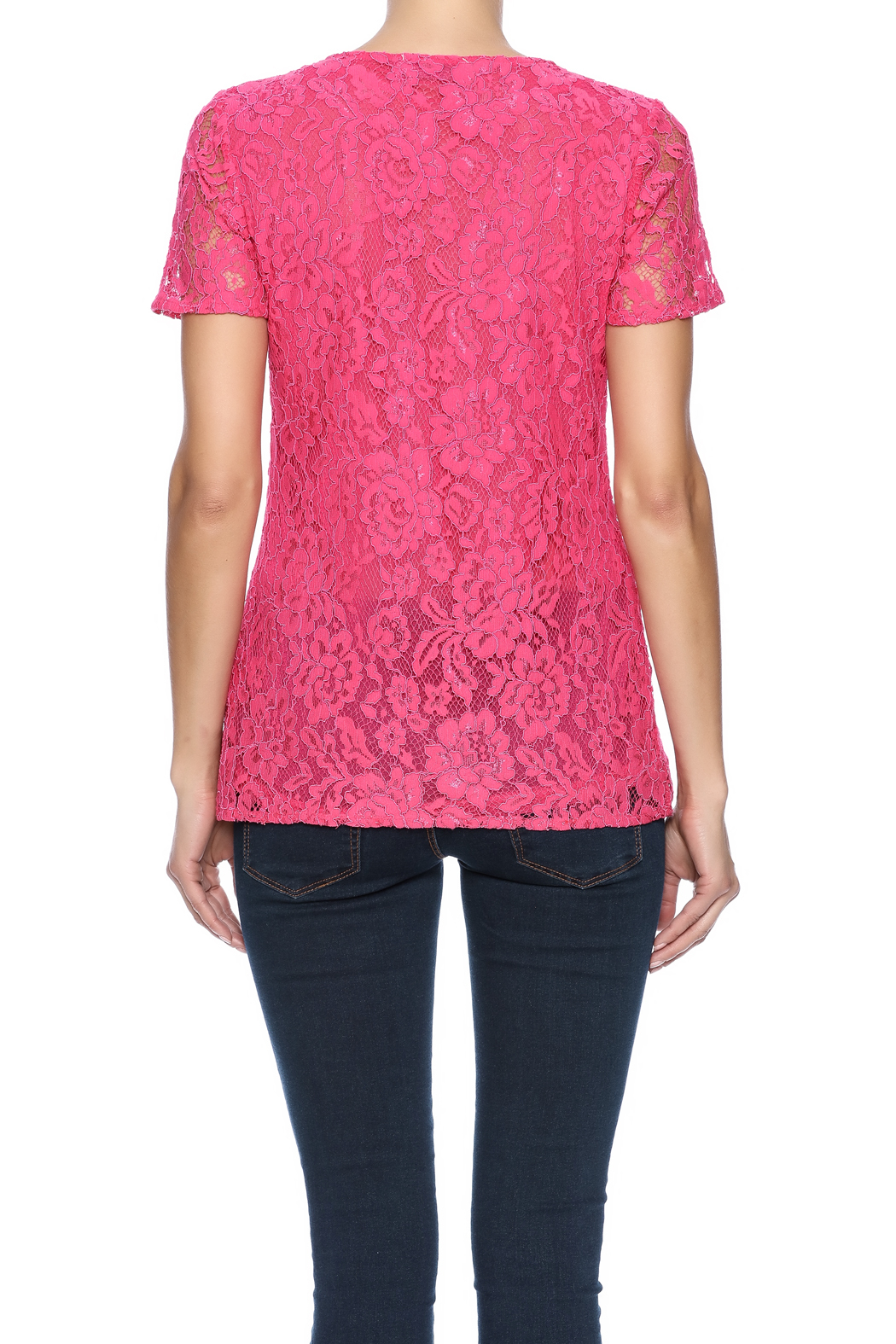 Betas Choice Pink Lace Top - Back Cropped Image