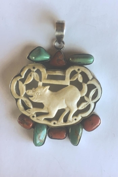 Beth Friedman One-Of-a-Kind Turquoise, Coral And Carved Bone Pendant - Alternate List Image