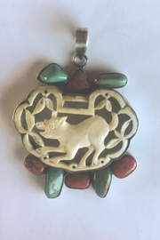 Beth Friedman One-Of-a-Kind Turquoise, Coral And Carved Bone Pendant - Product Mini Image