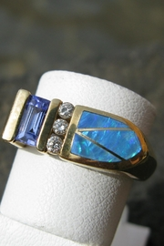 Beth Friedman Australian Fire Opal/diamonds/tanzanite 14 Karat Gold Ring - Product Mini Image