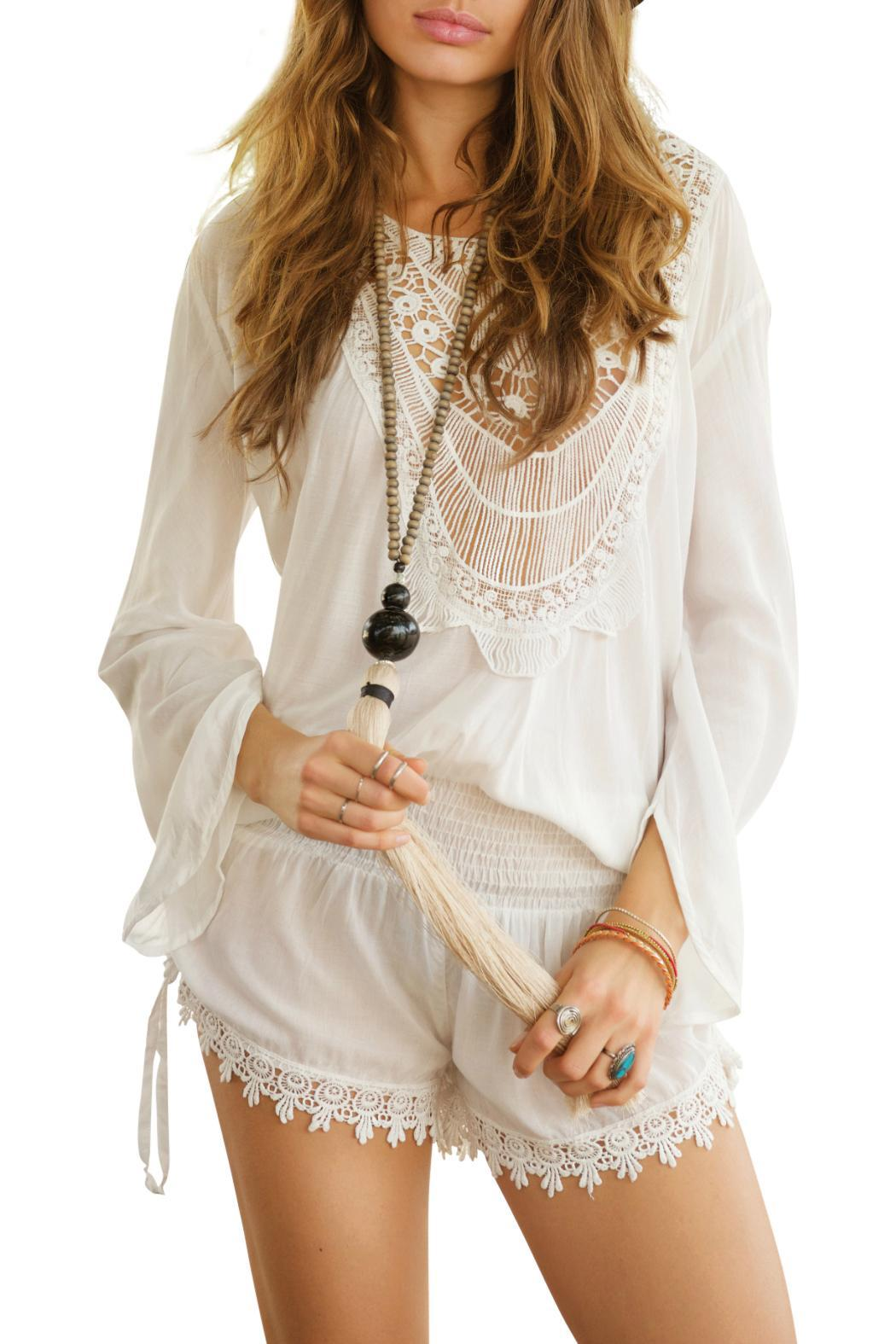 Beth Friedman Crochet Front Romper - Front Cropped Image