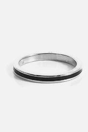 Beth Friedman Hidalgo 18 Karat White Gold And Black Enamel Ring - Product Mini Image