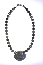 Beth Friedman Labradorite Carved Pendant And Bead Necklace - Product Mini Image