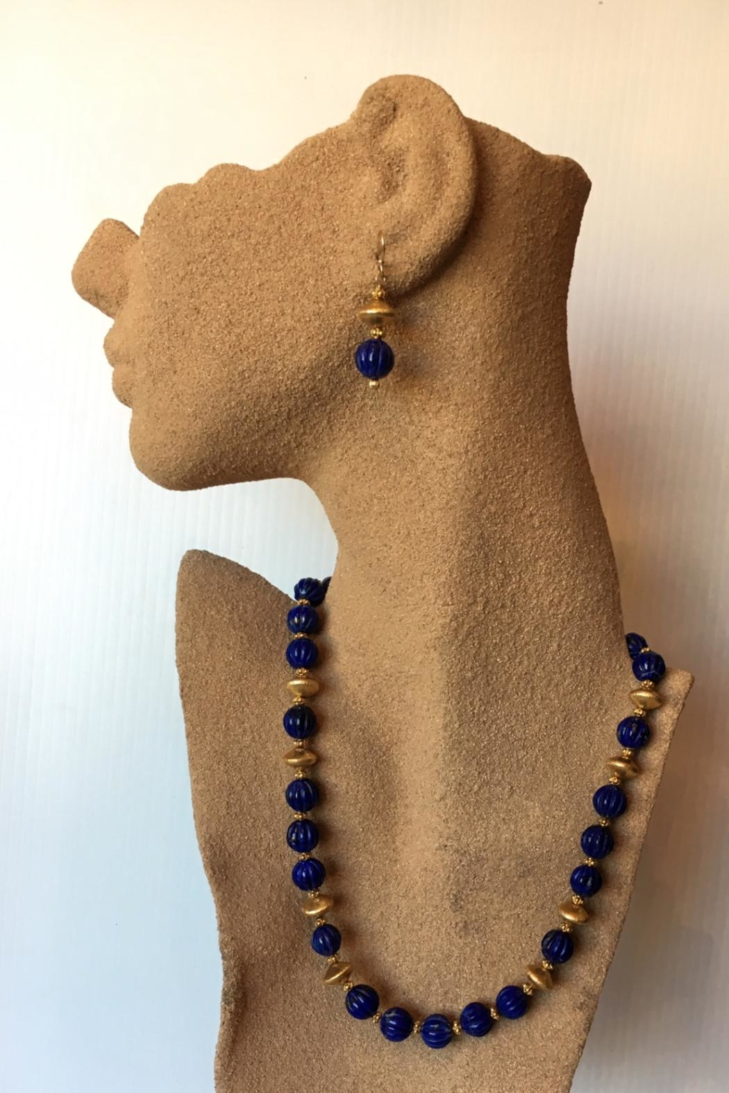 Beth Friedman Lapis Gold Earrngs - Front Full Image