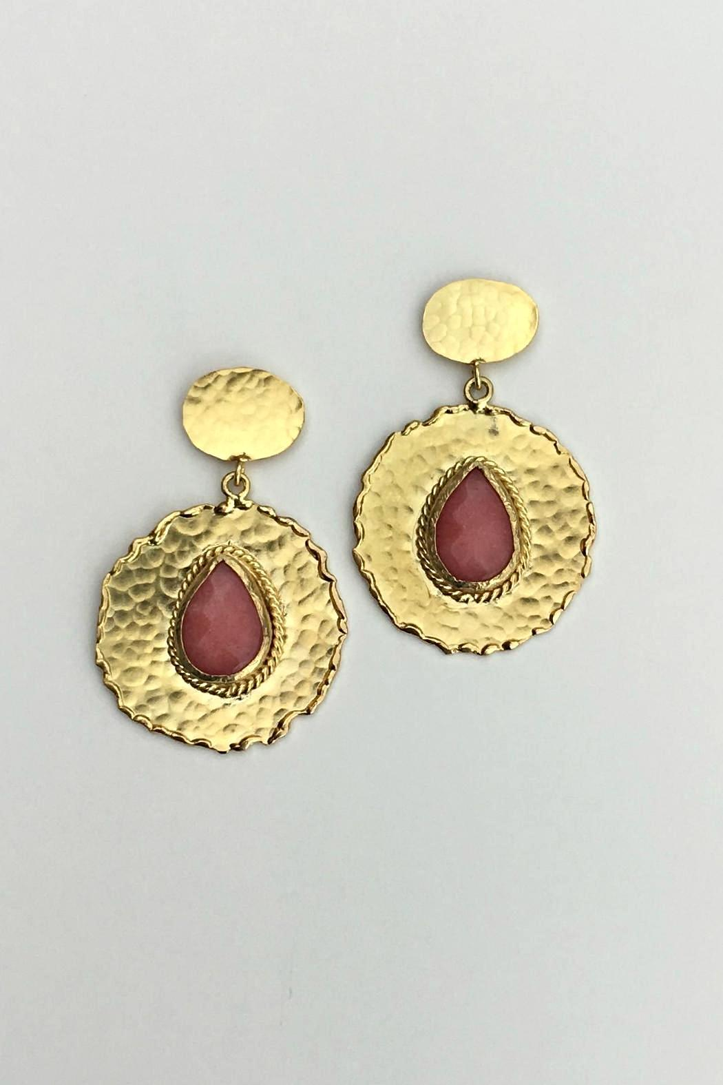 Beth Friedman Coral Chalcedony Earrings - Side Cropped Image