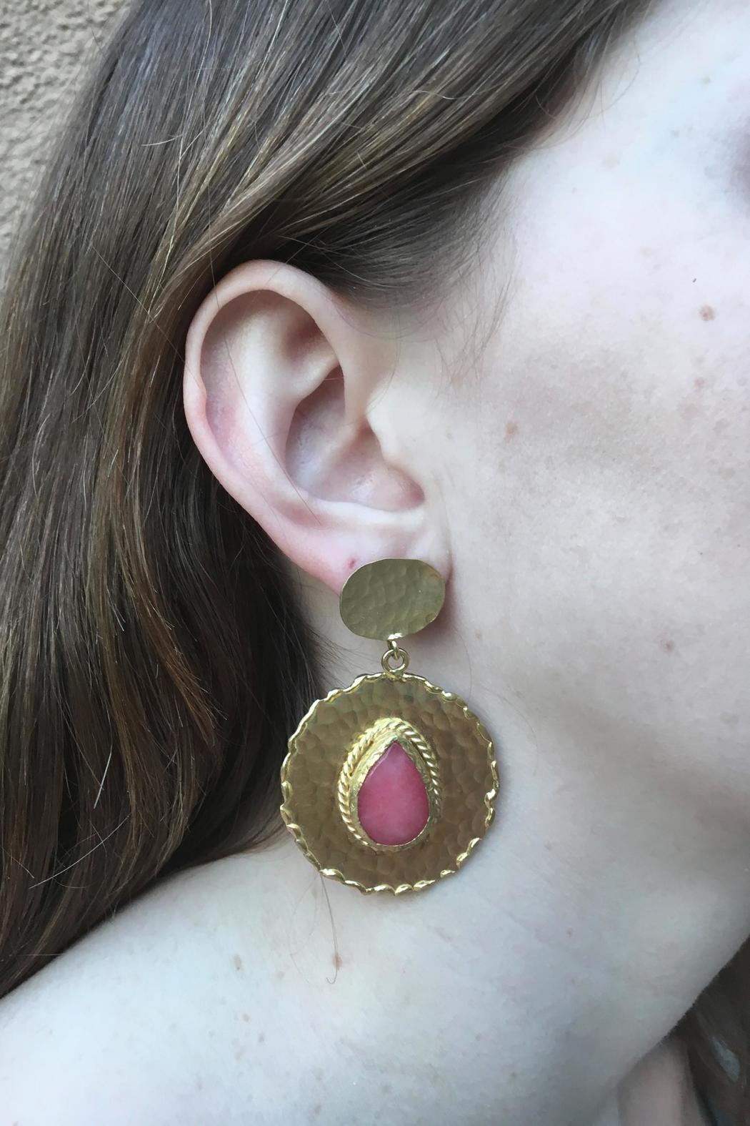 Beth Friedman Coral Chalcedony Earrings - Front Full Image