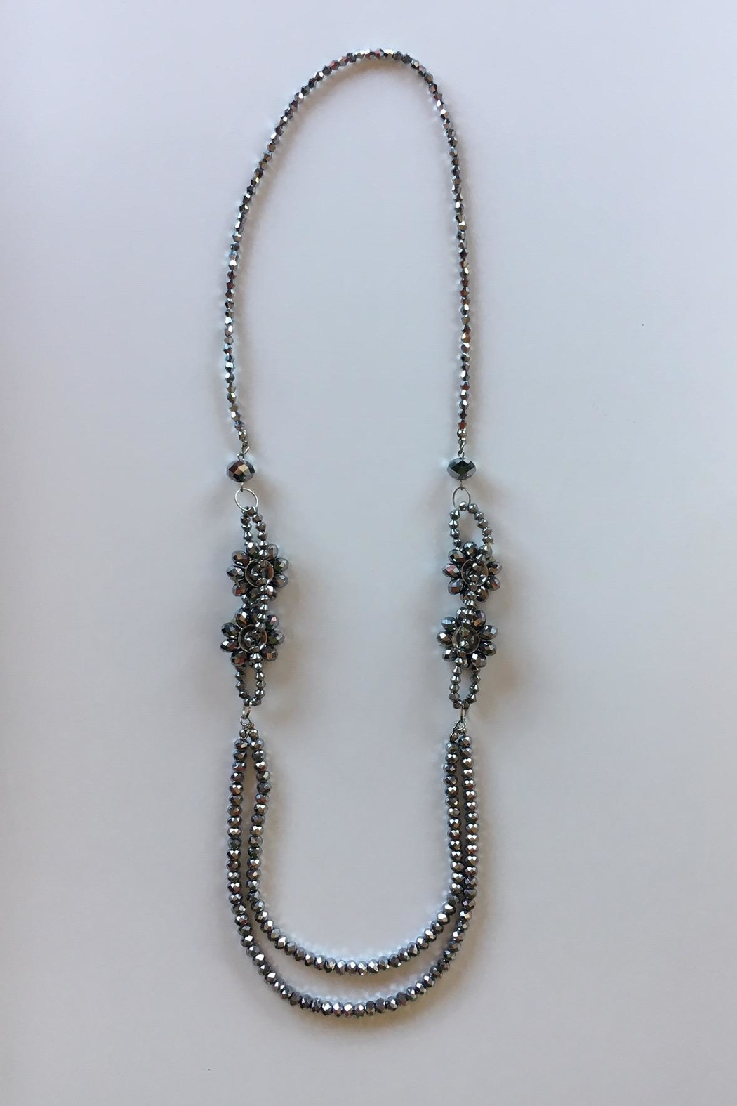 Beth Friedman Steel Grey Beaded Necklace - Front Full Image