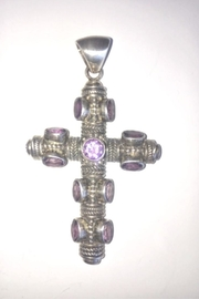 Beth Friedman Sterling Silver Amethyst Cross Pendant - Product Mini Image