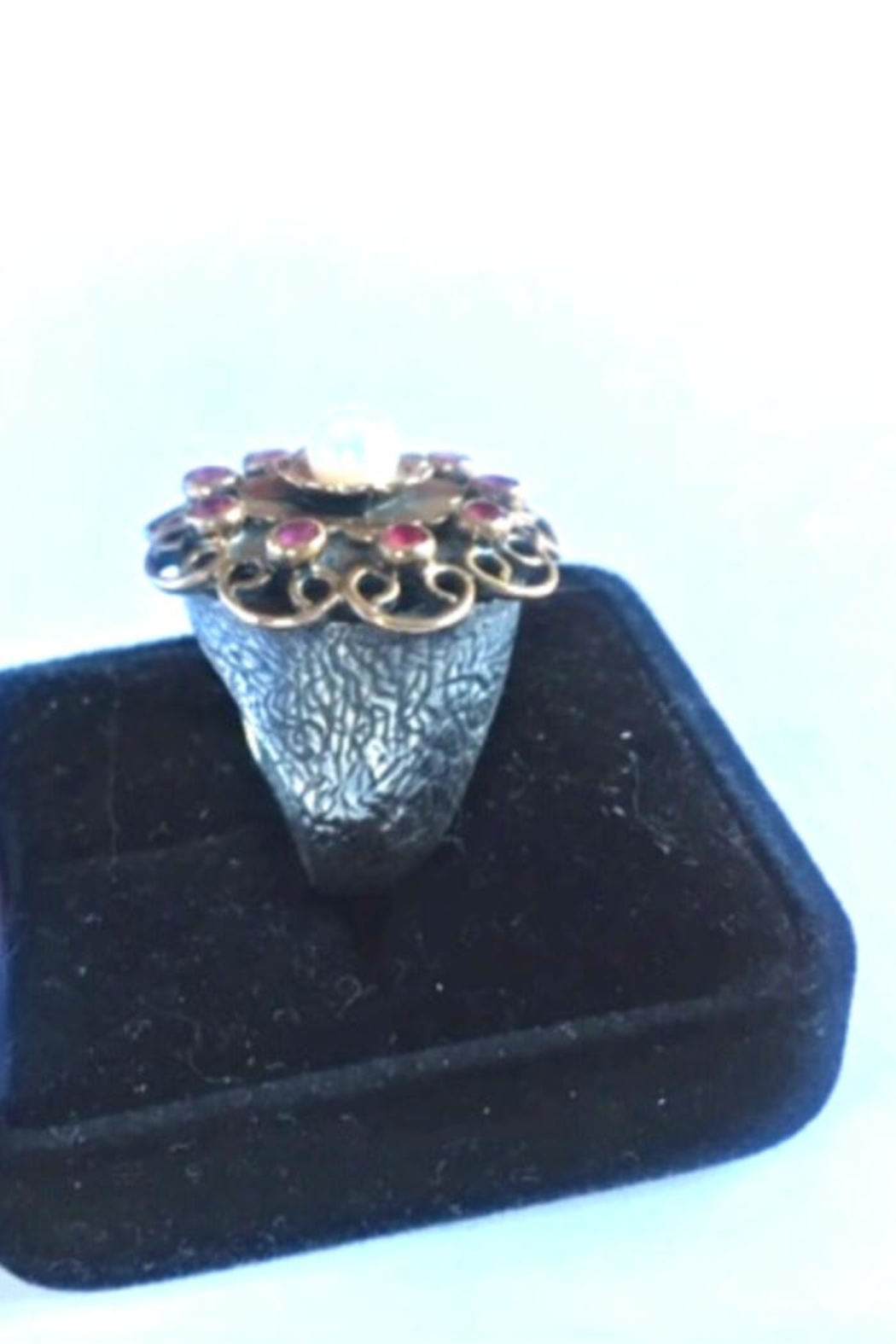 Beth Friedman Sterling Silver Genuine Ruby And Pearl Ring - Front Full Image