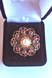 Beth Friedman Sterling Silver Genuine Ruby And Pearl Ring - Front cropped