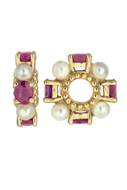 Beth Friedman Storywheels Genuine Pearls And Rubies,solid 14 Kt Gold - Product Mini Image