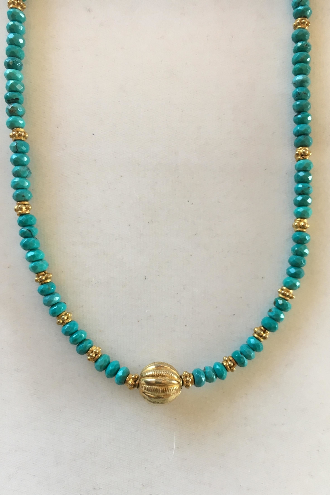 Beth Friedman Turquoise Gold Necklace - Side Cropped Image
