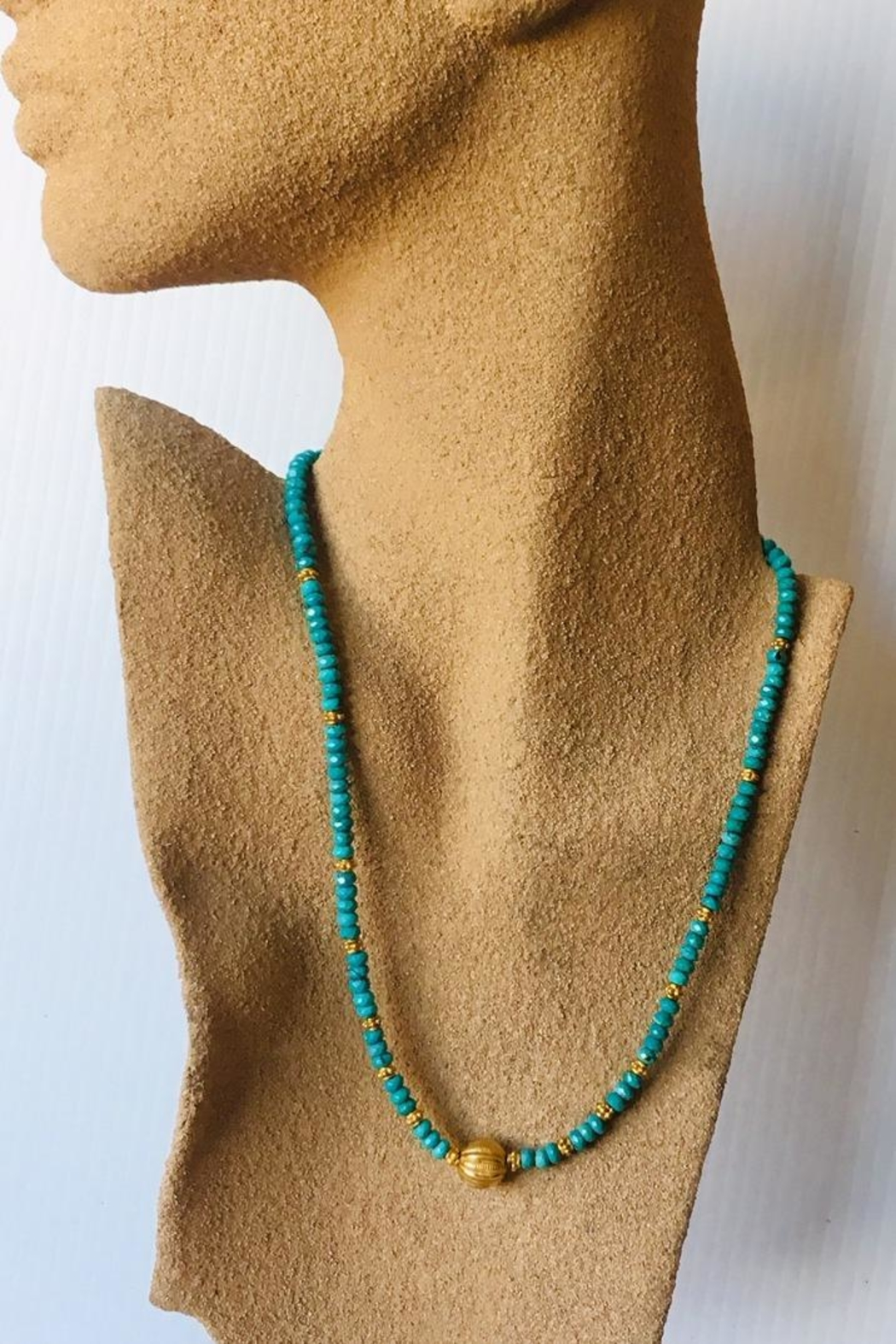 Beth Friedman Turquoise Gold Necklace - Front Full Image