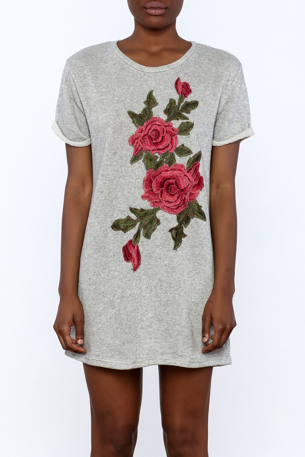Better Be Grey Embroidered Dress - Side Cropped Image
