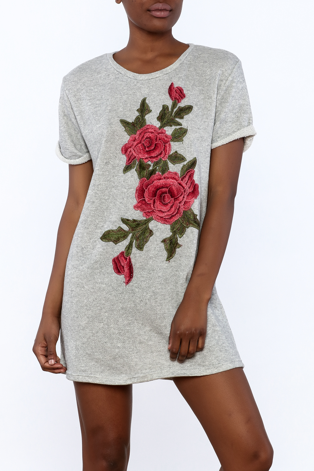 Better Be Grey Embroidered Dress - Front Cropped Image