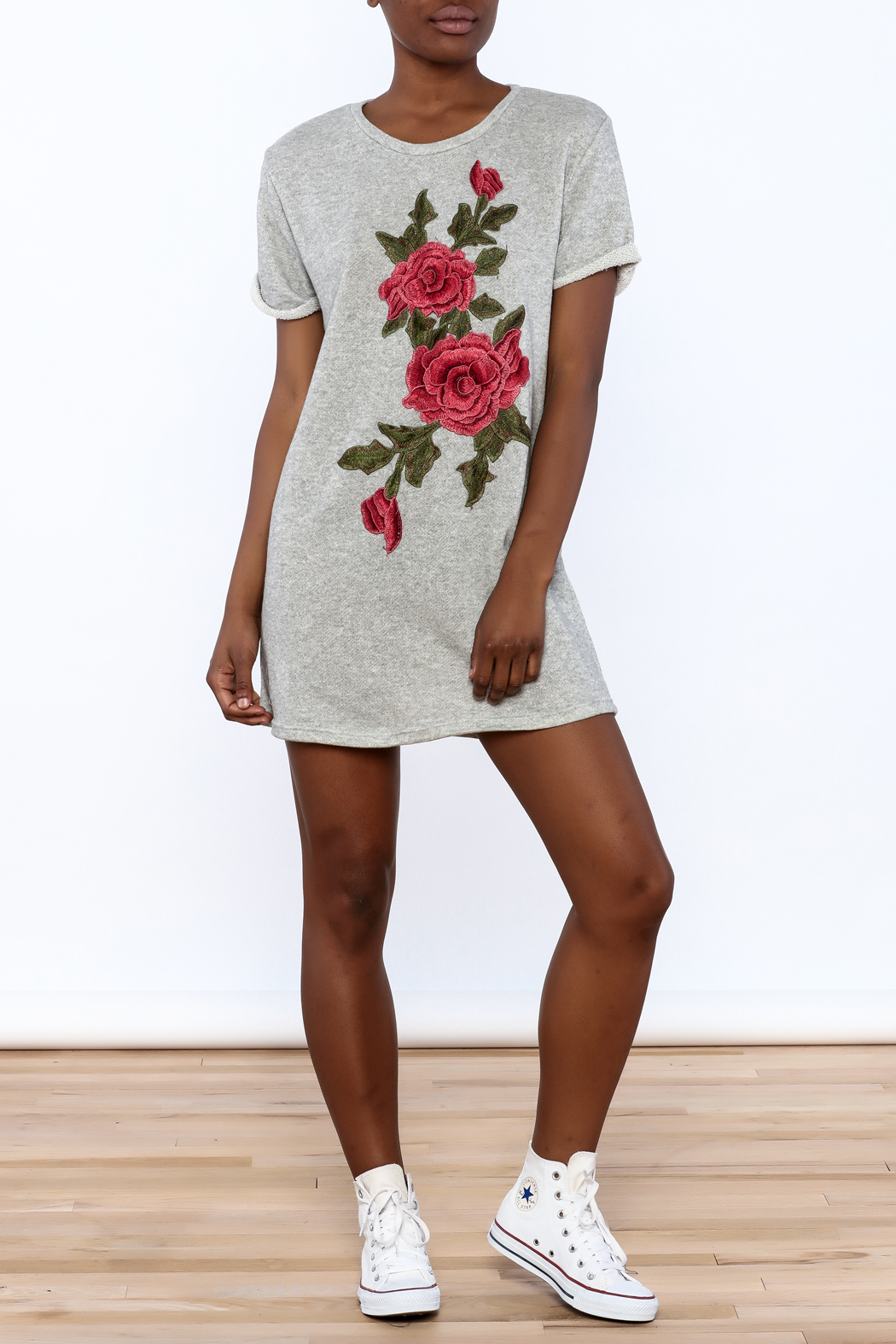 Better Be Grey Embroidered Dress - Front Full Image