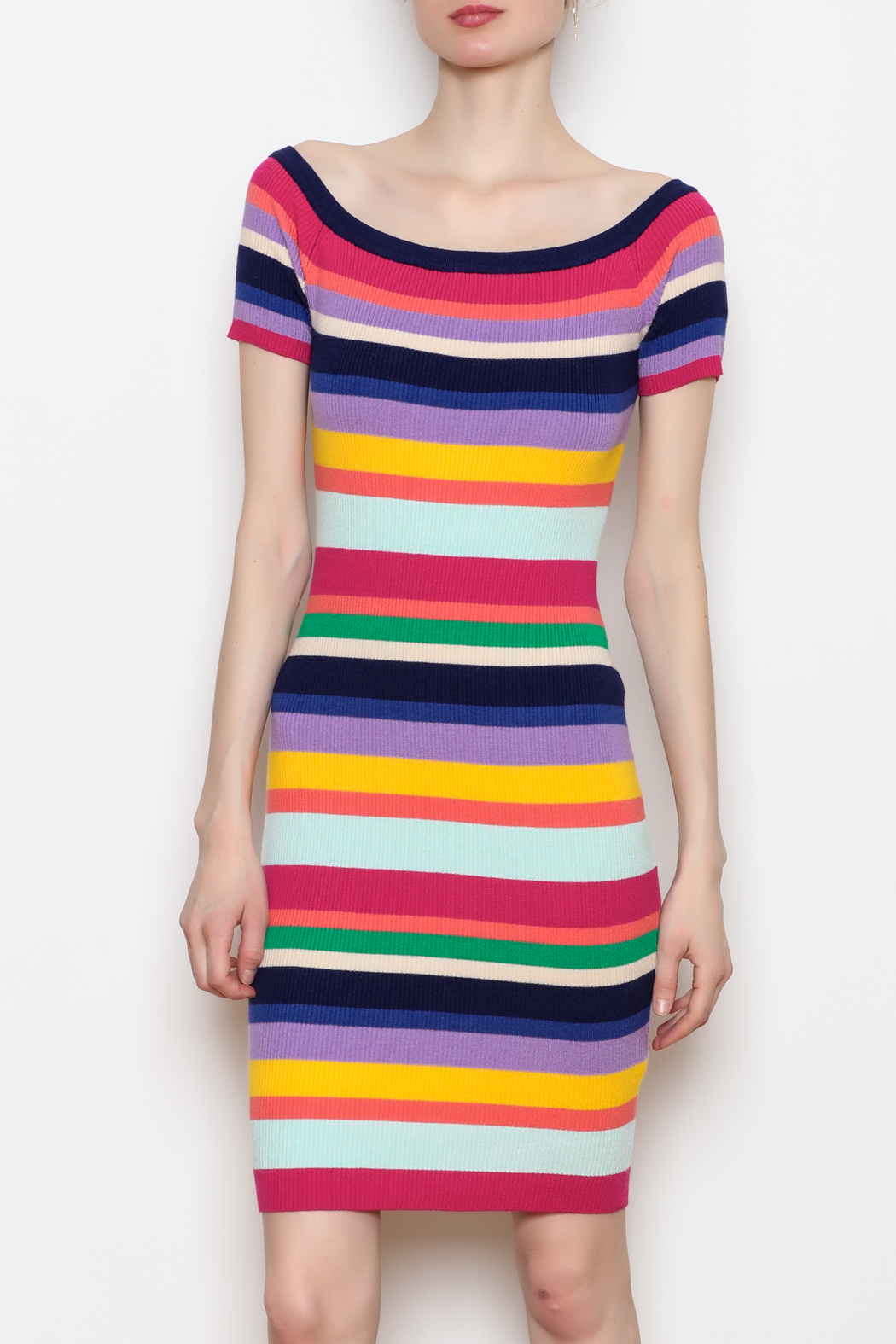 Better Be Rainbow Stripe Rib Dress - Front Cropped Image