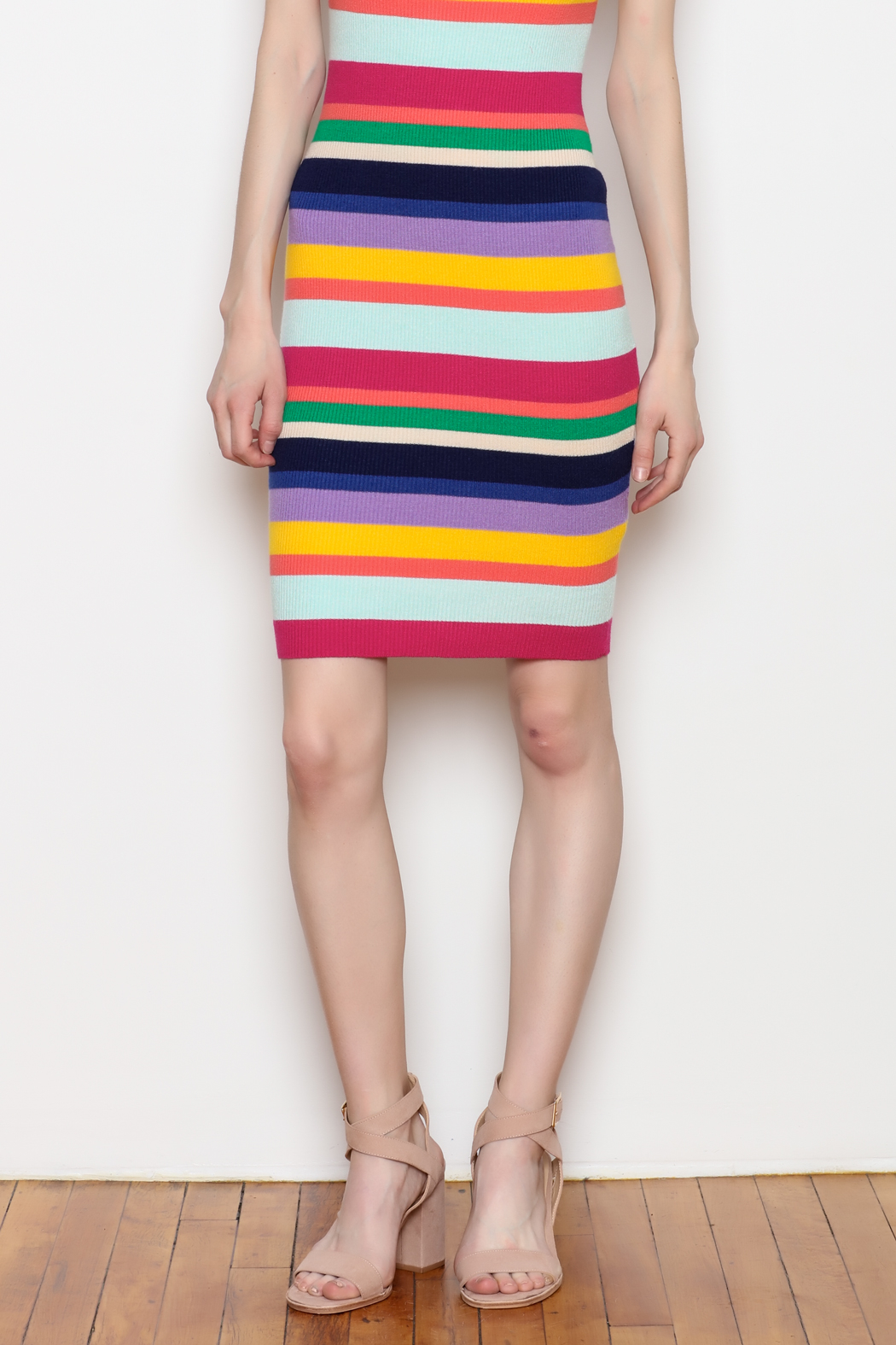 Better Be Rainbow Stripe Rib Dress - Side Cropped Image