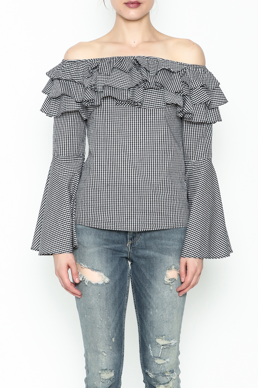Better Be Ruffle Bell Sleeve Top - Front Full Image