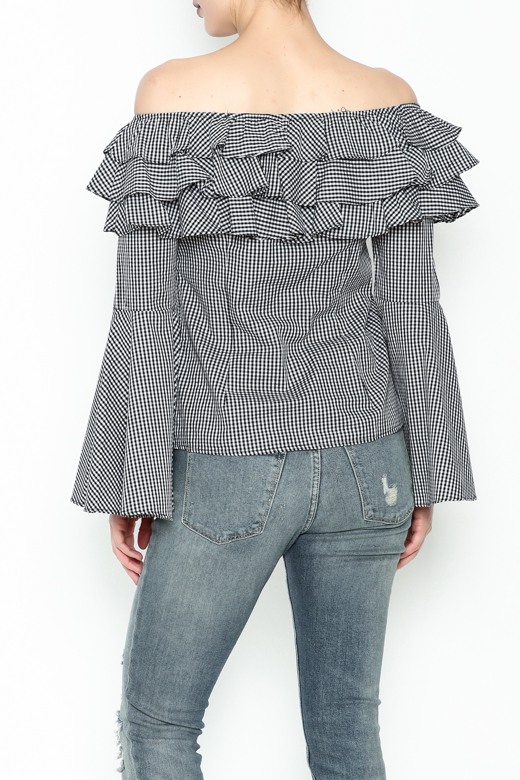 Better Be Ruffle Bell Sleeve Top - Back Cropped Image