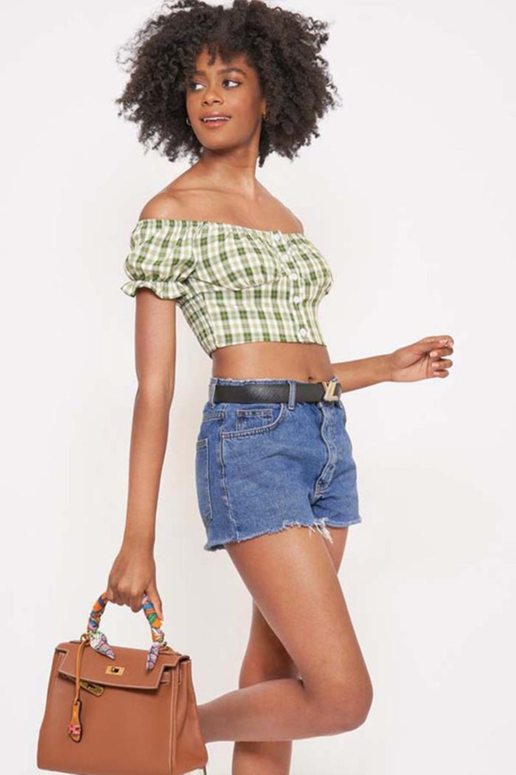 Better Be Checkered Off-The-Shoulder Top - Side Cropped Image
