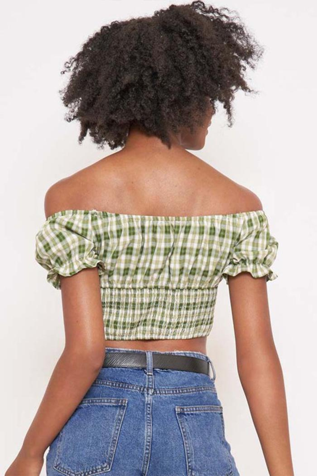 Better Be Checkered Off-The-Shoulder Top - Back Cropped Image