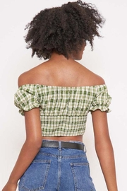Better Be Checkered Off-The-Shoulder Top - Back cropped