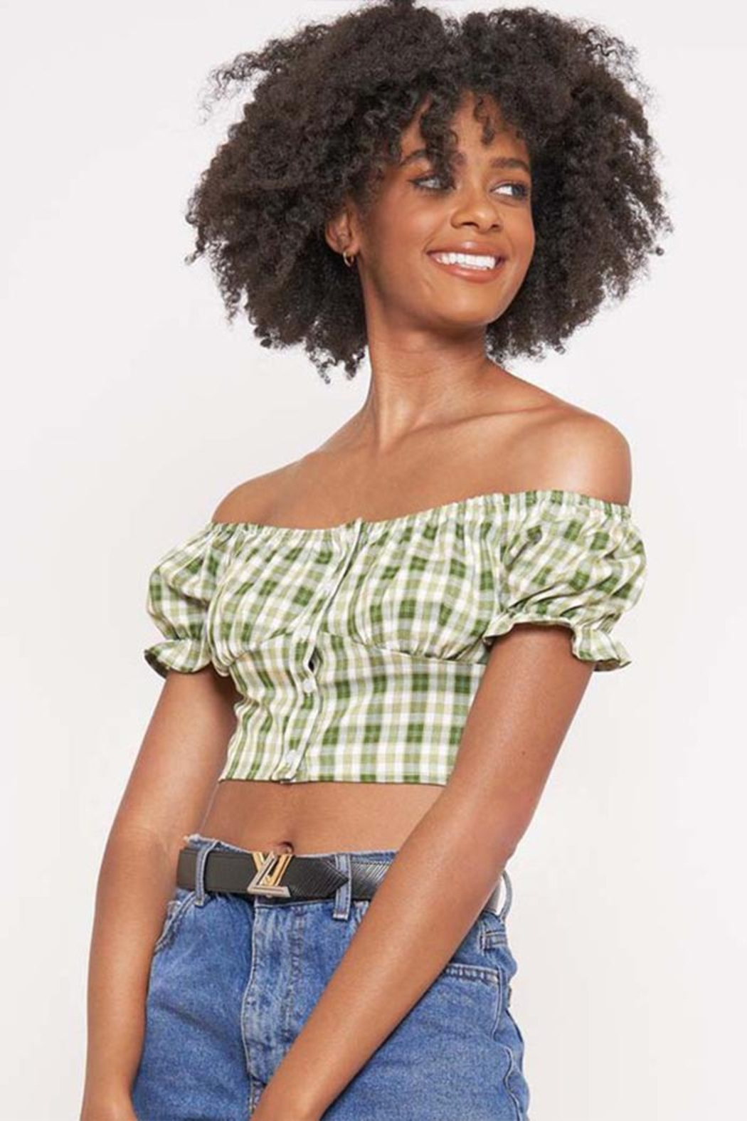 Better Be Checkered Off-The-Shoulder Top - Main Image