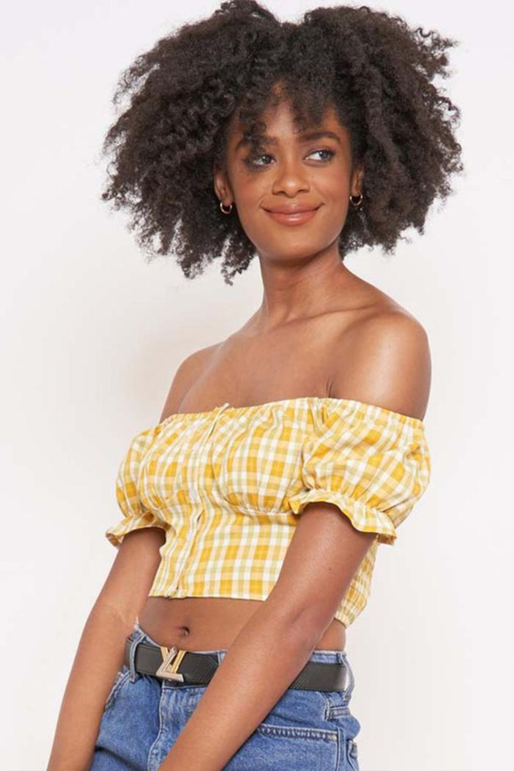 Better Be Checkered Off-The-Shoulder Top - Front Cropped Image