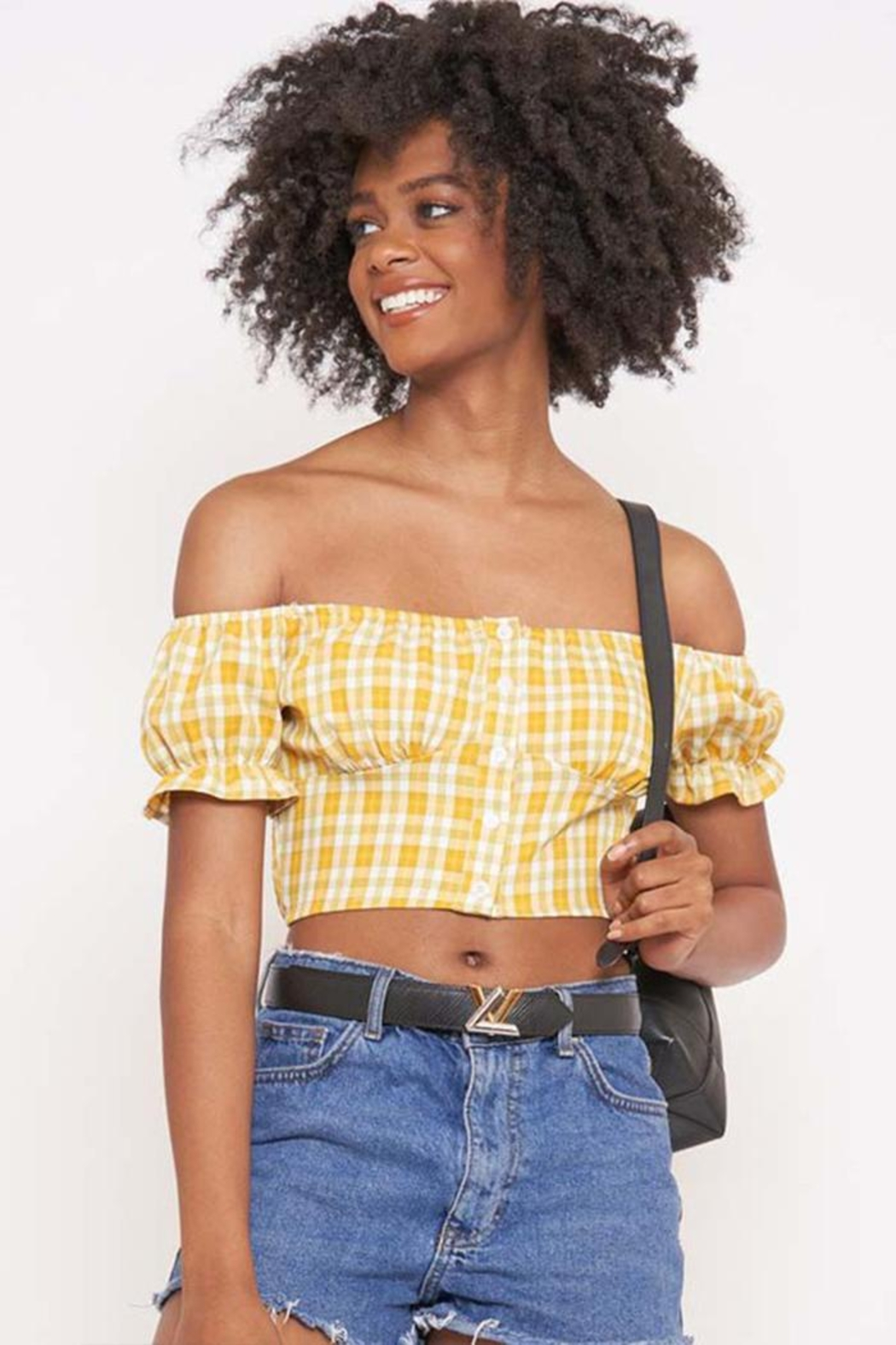 Better Be Checkered Off-The-Shoulder Top - Front Full Image