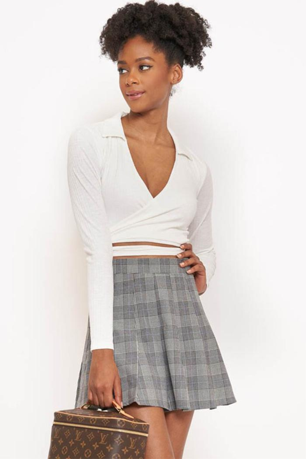 Better Be Collar Wrap Top - Front Cropped Image