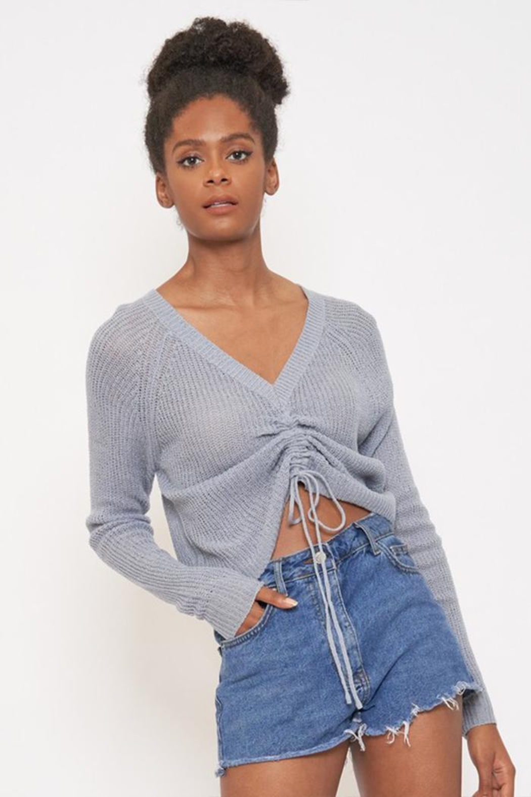 Better Be Front Ruched Knit-Top - Main Image
