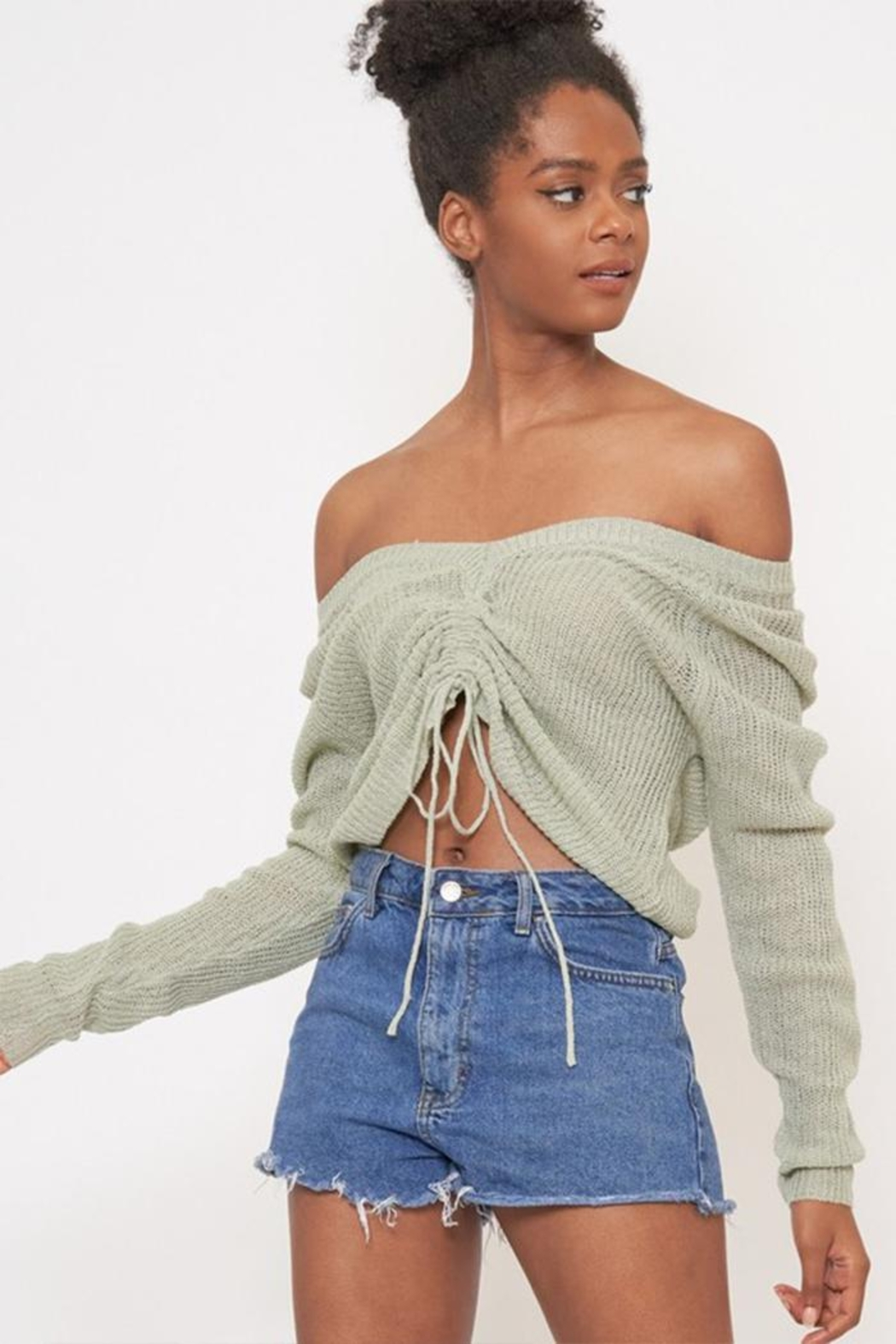 Better Be Front Ruched Knit-Top - Front Full Image