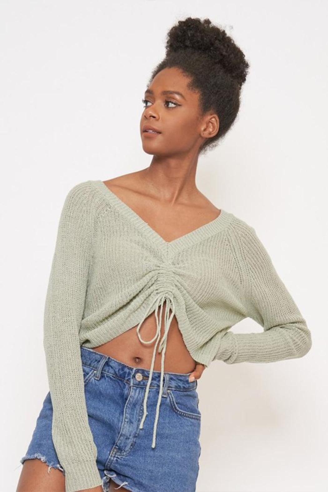Better Be Front Ruched Knit-Top - Front Cropped Image