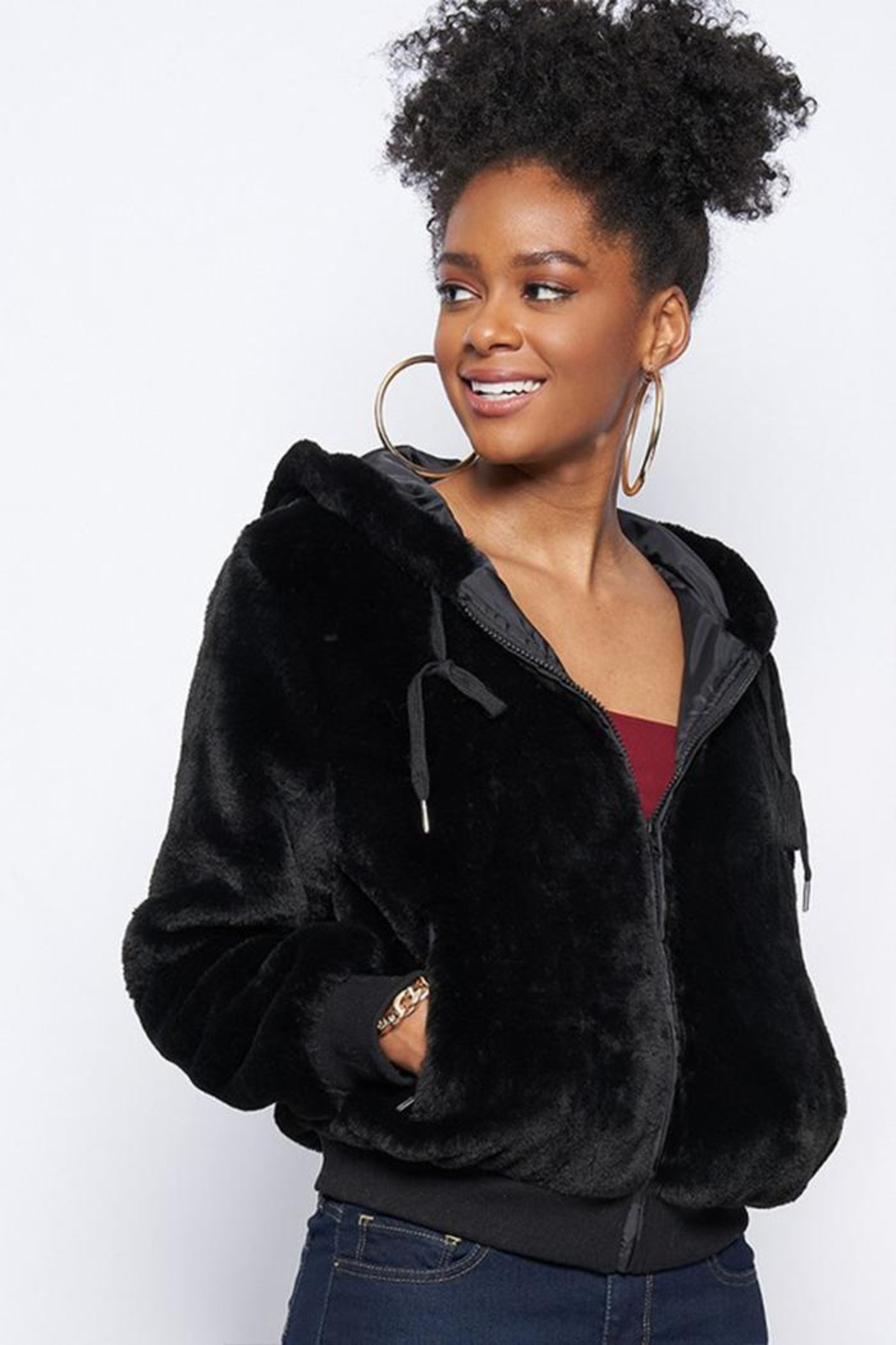 Better Be Fur Hoodie Jacket - Front Cropped Image