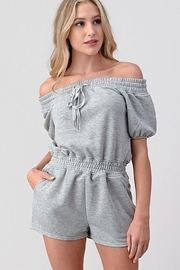 Better Be Grey Off The Shoulder Romper - Front cropped