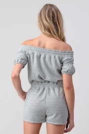 Better Be Grey Off The Shoulder Romper - Front full body