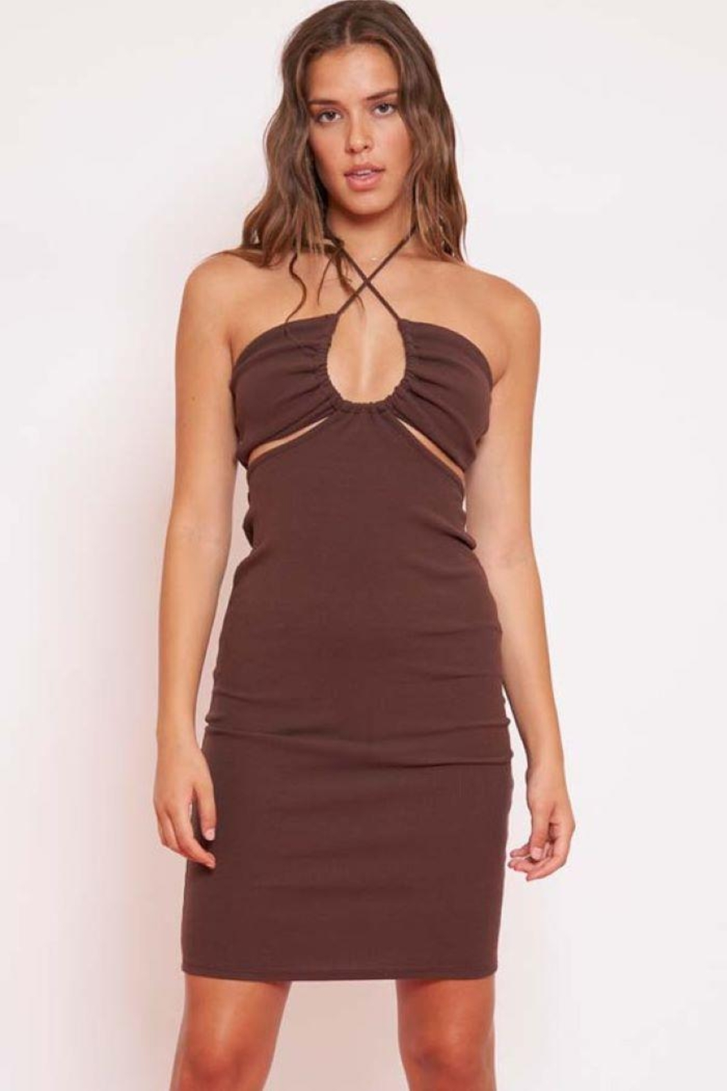 Better Be Halter Rib Mini Dress - Front Cropped Image