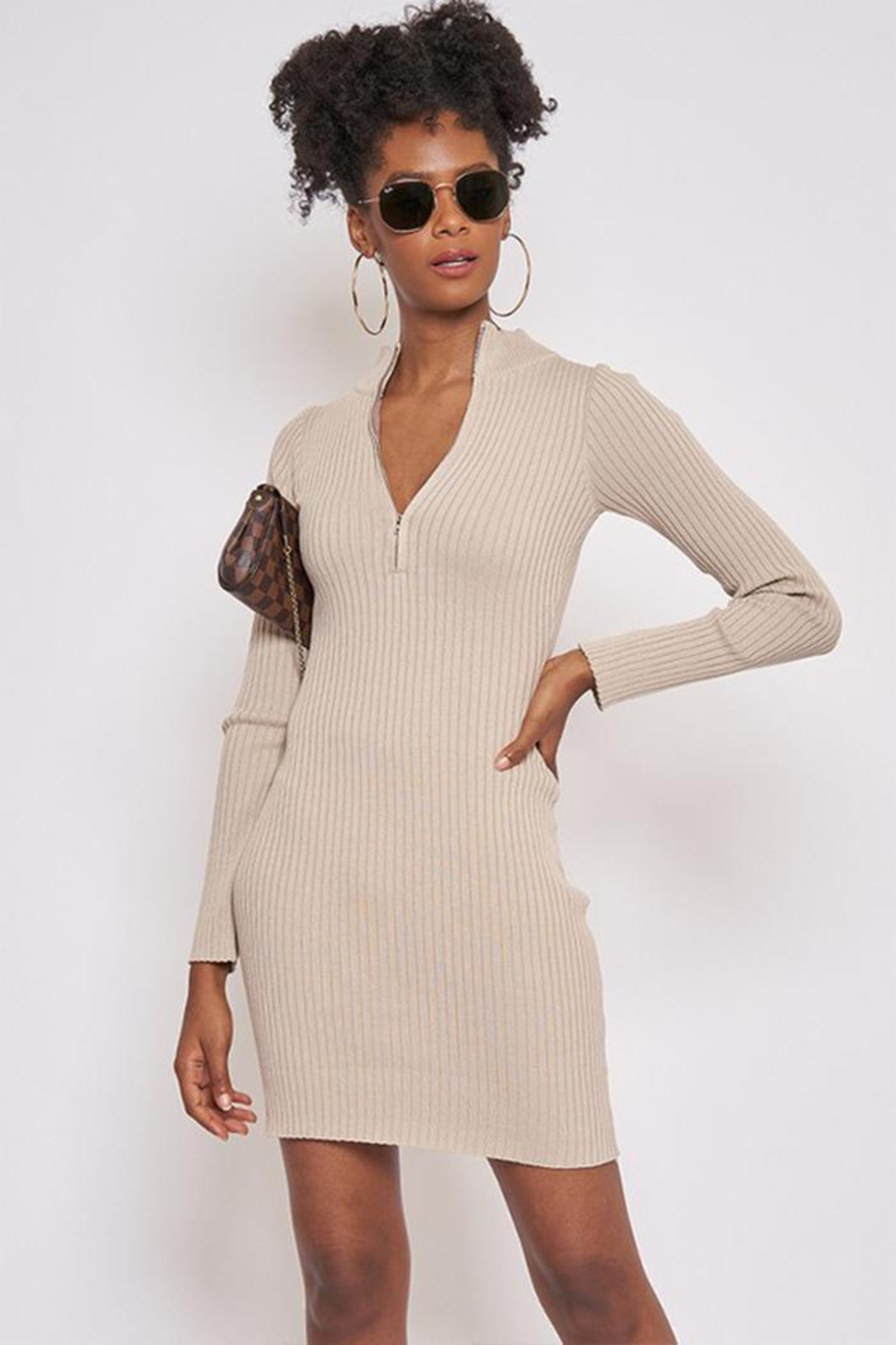 Better Be Long-Sleeve Ribbed Dress - Front Cropped Image