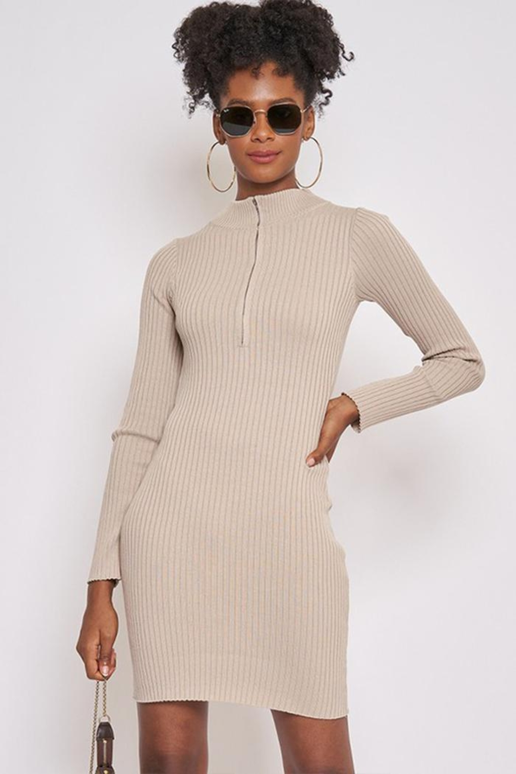 Better Be Long-Sleeve Ribbed Dress - Front Full Image