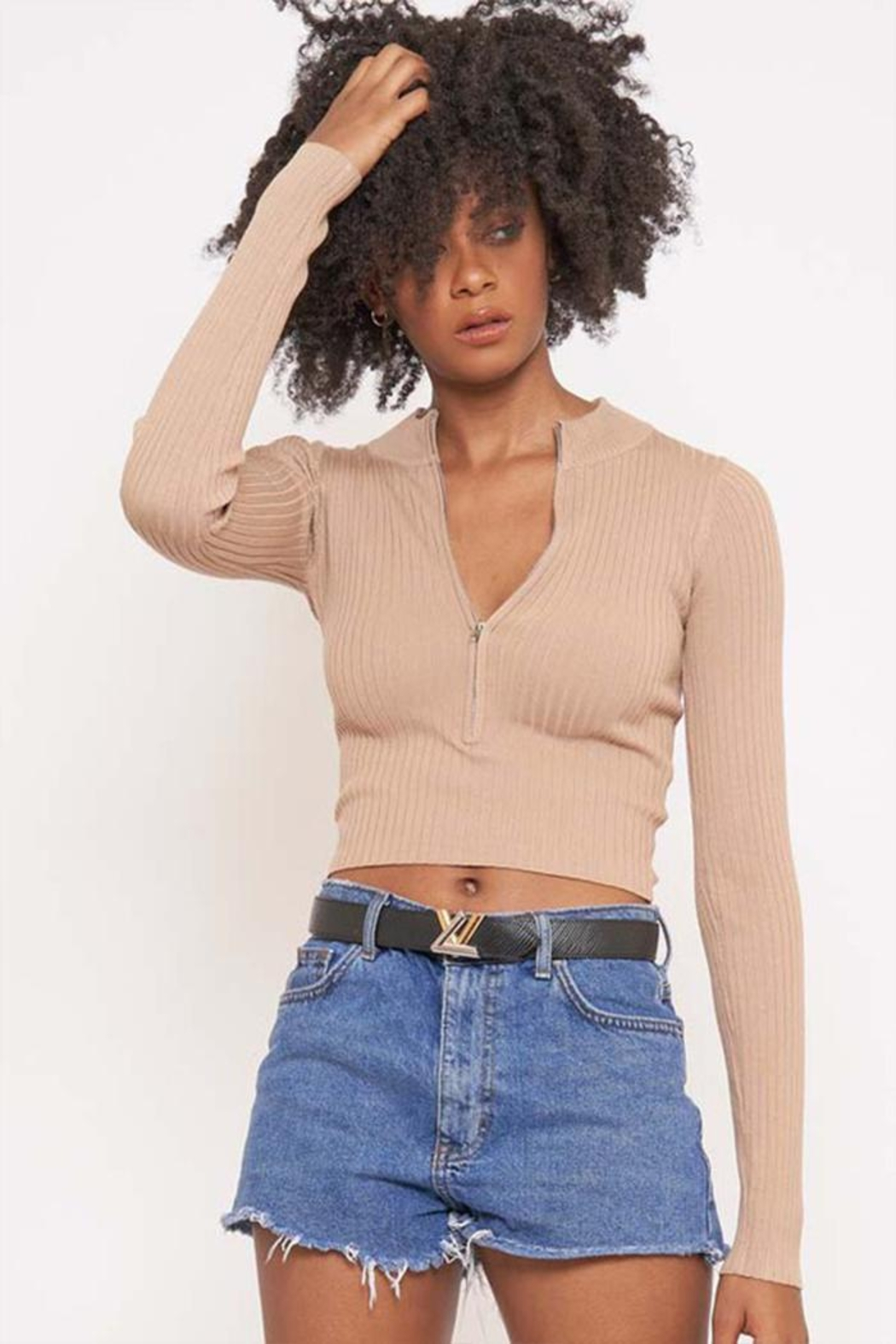 Better Be Long Sleeve Ribbed Top - Front Cropped Image