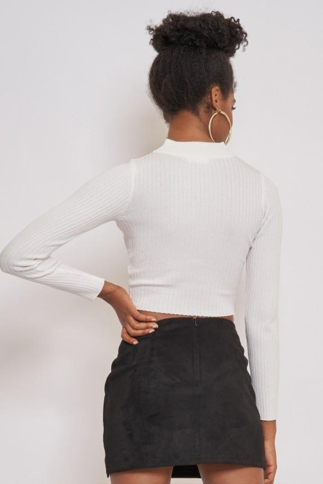 Better Be Long Sleeve Ribbed Top - Back Cropped Image
