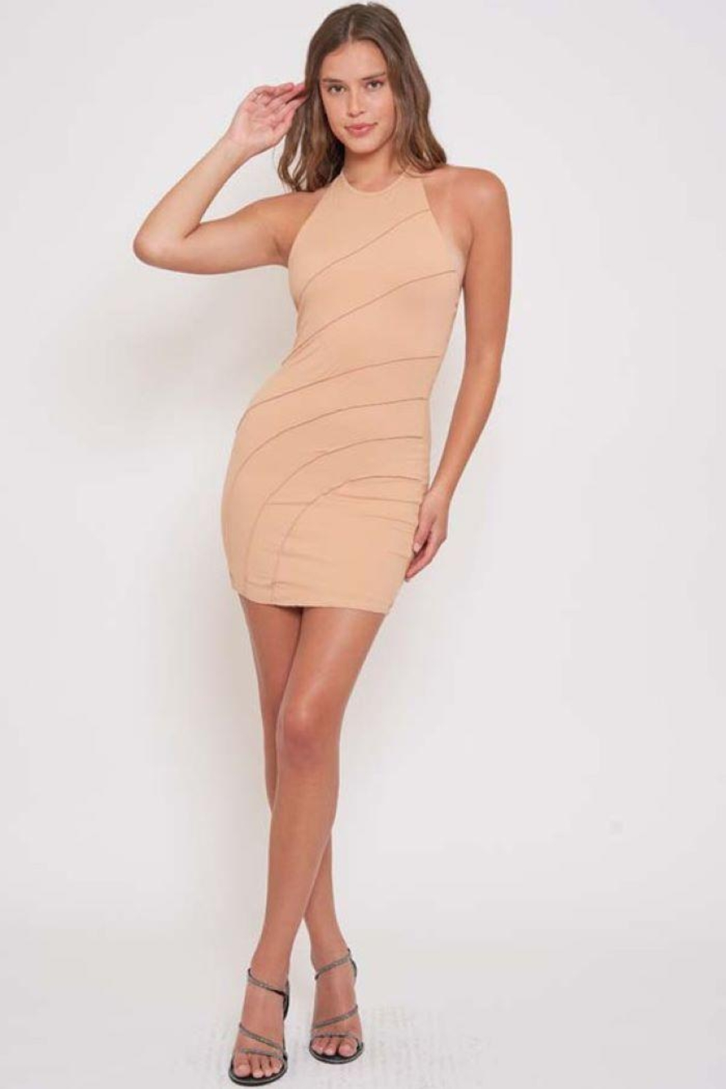 Better Be Piping Lettuce Halter Dress - Front Cropped Image