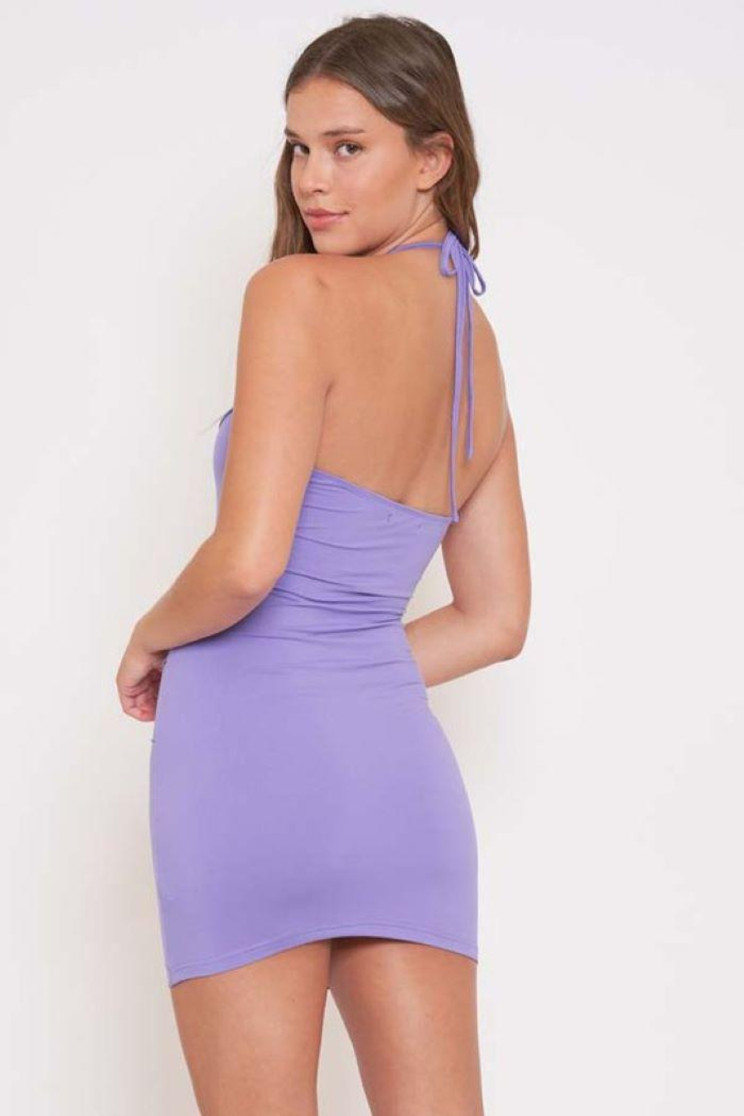 Better Be Piping Lettuce Halter Dress - Back Cropped Image