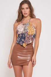 Better Be Pu Mini Skirt With Side Slit - Front cropped