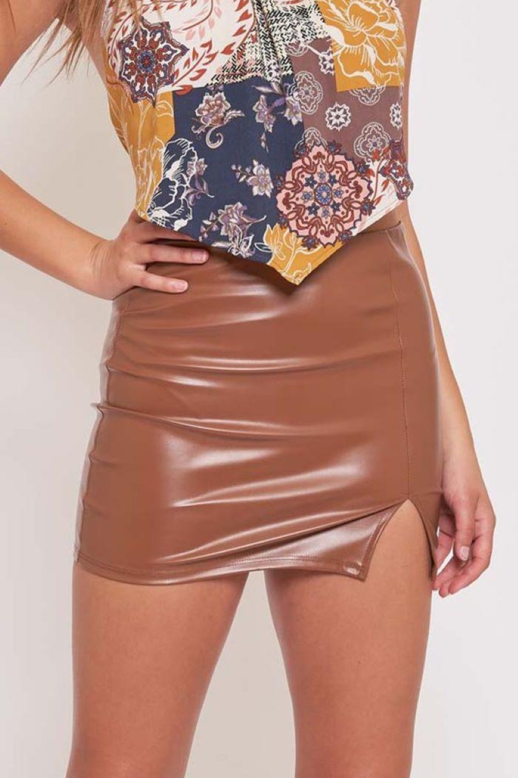 Better Be Pu Mini Skirt With Side Slit - Side Cropped Image