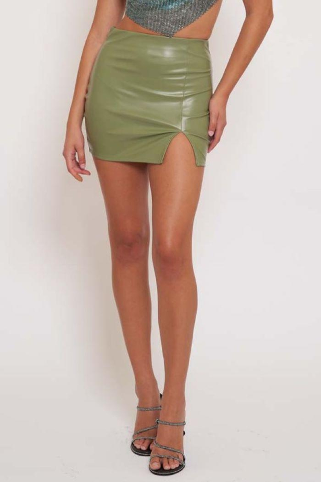 Better Be Pu Mini Skirt With Side Slit - Front Full Image