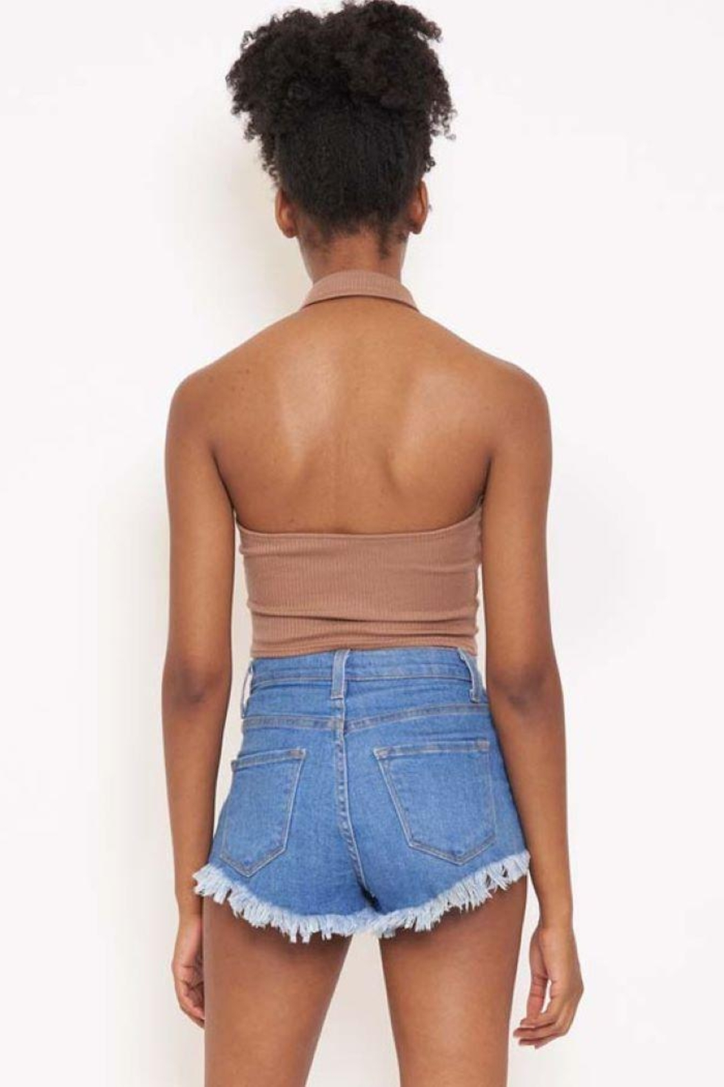 Better Be Rib Halter Collar Top - Back Cropped Image