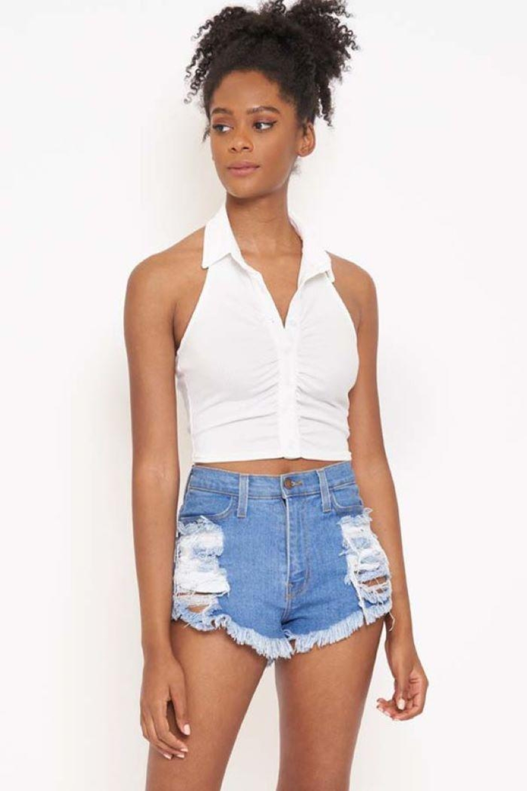 Better Be Rib Halter Collar Top - Front Cropped Image
