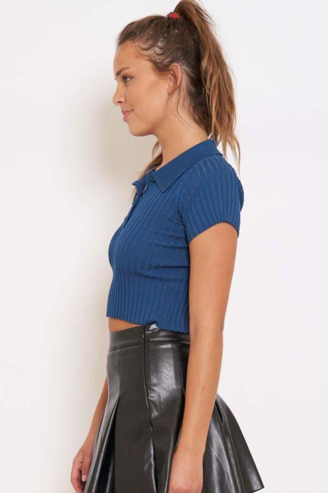 Better Be Ribbed Collared Crop Top - Front Full Image